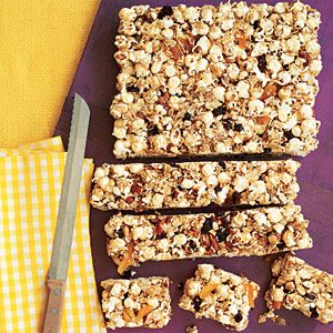 Popcorn Snack Bars | MyRecipes.com I take out the almonds and substitute sunflower seeds for my little girl who has a nut allergy. Very tasty. Sometimes I let her dip it in melted chocolate and let it cool for an extra special treat.
