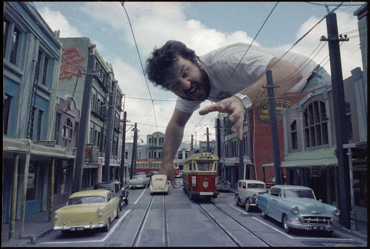 Peter Jackson, with the miniature set reproducing 1950s Newtown from the film 'Braindead' [1992]