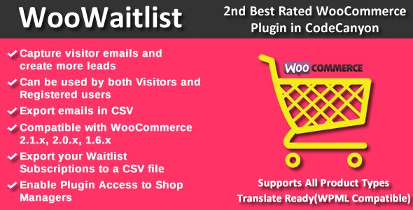 Every time an item is out of stock, you're losing potential customers. Instead, why not use the WooWaitlist plugin to keep those valuable customers in the loop when your stock is replenished. In the meantime, you'll build your list of potential buyers and grow your market.