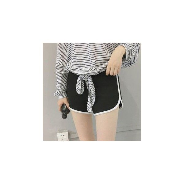 Piped Sweat Shorts (€9,39) ❤ liked on Polyvore featuring shorts, women, grey shorts, grey cotton shorts, gray shorts and cotton shorts