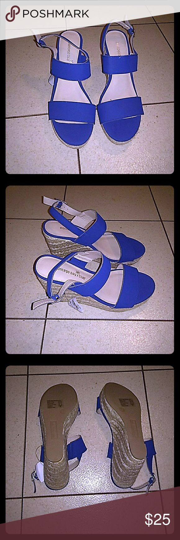 Montego Bay Royal Blue Wedges Brand New... Never Worn without box. They're royal blue front toe and ankle strap with a basket weave material wedge. Very cute with price tag still attached. Montego Bay Club Shoes Wedges