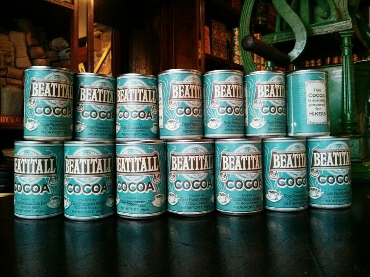 Cocoa tins at St Fagans museum, Cardiff