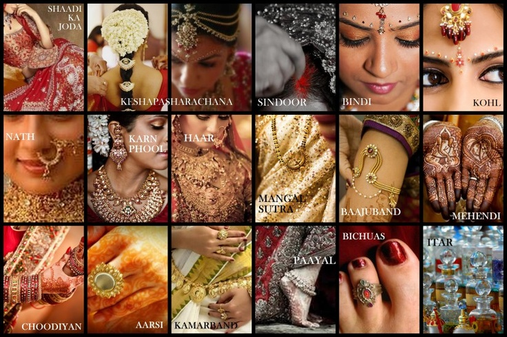 Solah Shringar - The sixteen adornments that complete a Hindu bride's look on her wedding day. --- #india #blackbook