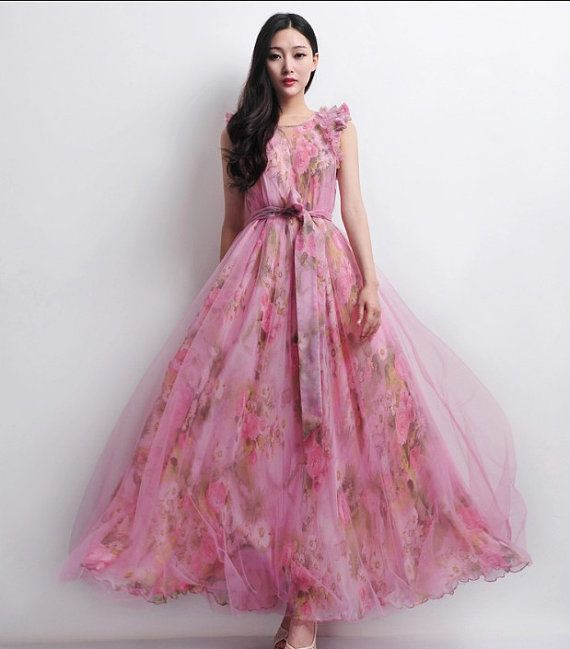 Tulle floral print a line dress wedding bridesmaid full for Floral print dresses for weddings