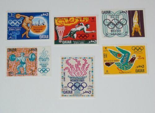 Stamp Pickers Qatar 1968 Olympics Mint Set Scott #140-145 MH OG $30+