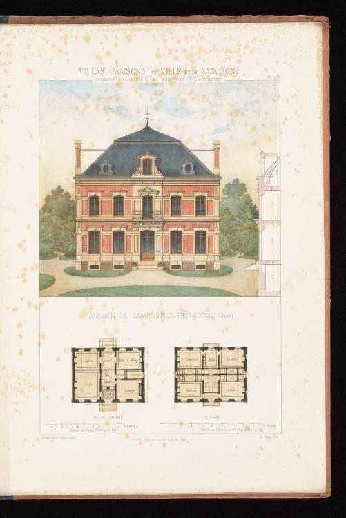Villas Maisons De Ville Et De Campagne Composees Sur Les Motifs Des Habitations De Paris Moder Vintage House Plans Architecture Sketch Architecture Drawing