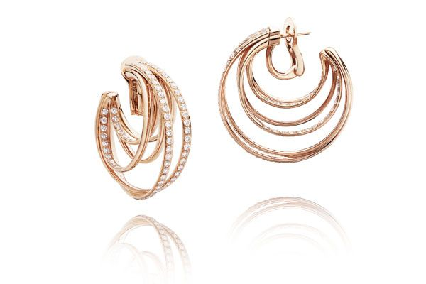 Earrings in rose gold and diamonds from de Grisogono's Allegra collection.