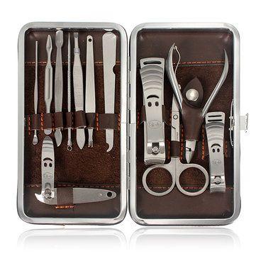 12pcs Nail Care Clipper Pedicure Scissor Tweezer Manicure Set Kit