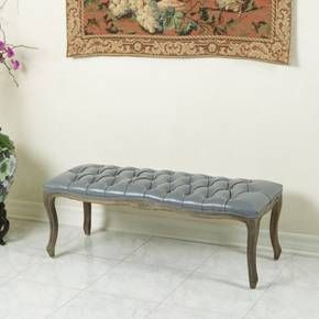 Tufted Grey Leather Bench with Weathered Oak Frame - Christopher Knight Home : Target