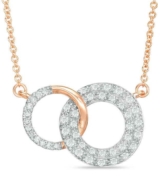 Zales 1/4 CT. T.W. Diamond Interlocking Circles Necklace in 14K Rose Gold