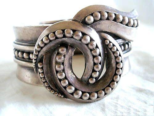 "Bracelet   Margot de Taxco. ""Whorl"" Sterling silver. circa-1950's"