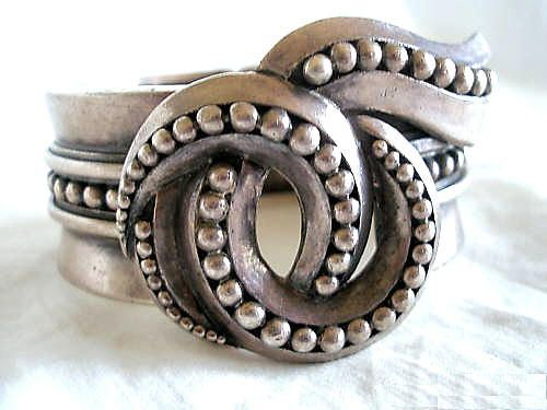 Bracelet |  Margot de Taxco.  Sterling Clamper Bracelet