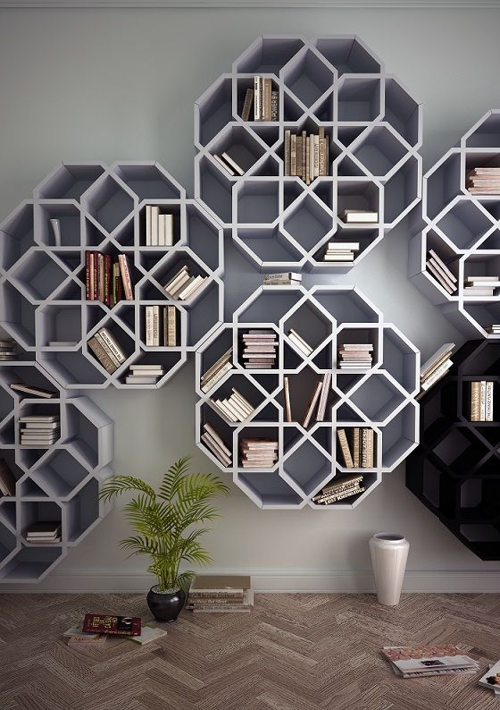 Bookshelves inspired by Moroccan mosaics.