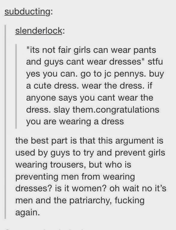 Feminist Elizabethan: Feminist Meme: Wear the Dress