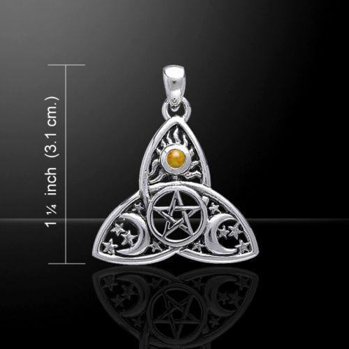 Sun Moon Stars Pentacle Pendant .925 Sterling Silver - Magick Pentagram with gem
