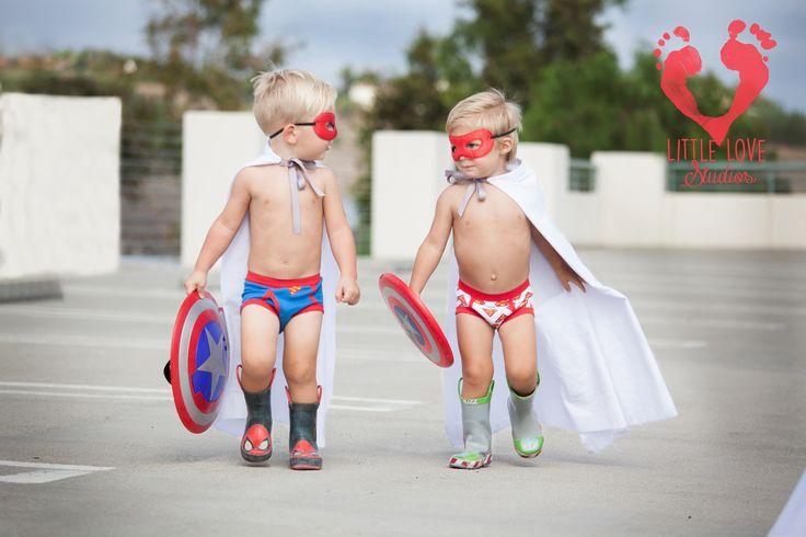 Boys' superheroes photo shoot, Captain America, Capes
