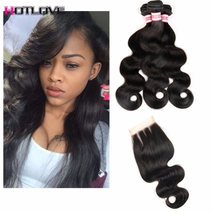 hotlove Hair Products with Closure Bundle Brazilian Body Wave Human Hair With Closure 8A Brazilian Virgin Hair With Lace Closure