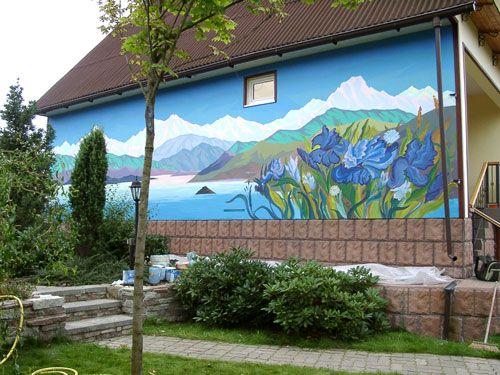 Ирисы.Настенная роспись.3x10 м. 2004 г.