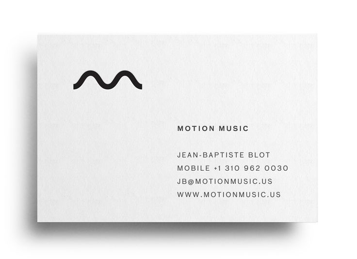 Logo and business card with black block foil detail designed by Face for tour management agency Motion Music: