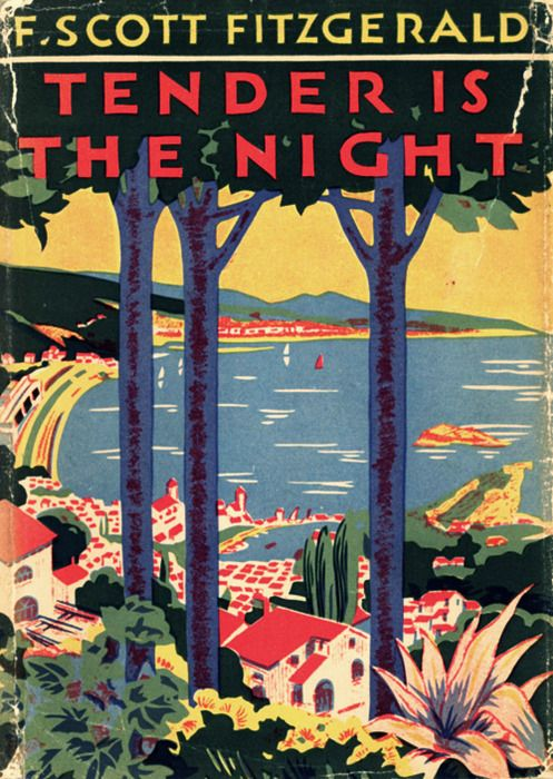 """Great uncredited cover for F. Scott Fitzgerald's excellently titled """"Tender is the Night."""" The title alone is golden. I forget the name of this printing process with its signature colour. I know it originated in the UK. Gotta look into it. Gorgeous."""