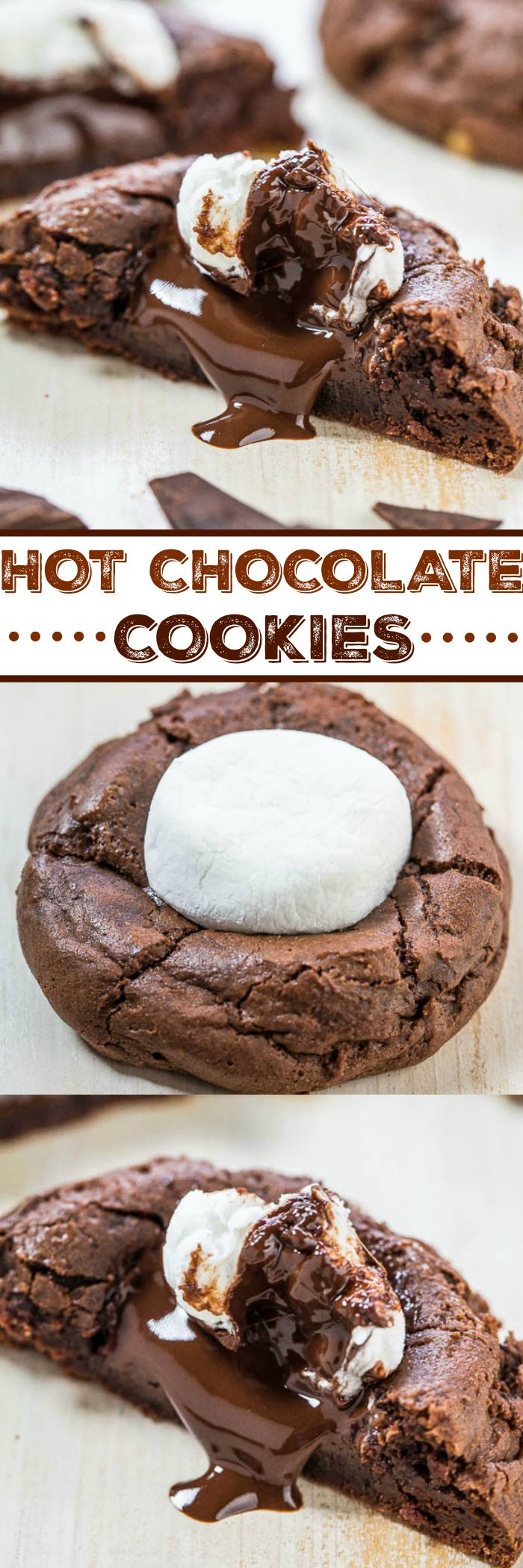 Hot Chocolate Cookies - Rich chocolate cookies topped with a hunk of melted dark chocolate.