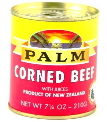 PALM CORNED BEEF 7OZ<br />Juicy and delicious Palm Corned Beef. Comes in regular, corned beef with onion, corned beef with chili, corned beef with garlic and Gold Label corned beef.<br /><br />A product of New Zealand - Worlds Most Natural Food Producer.