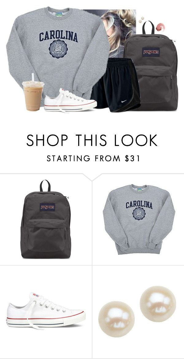"""""""Messy bun"""" by aweaver-2 on Polyvore featuring JanSport, NIKE, Champion, Converse, Honora and NARS Cosmetics"""