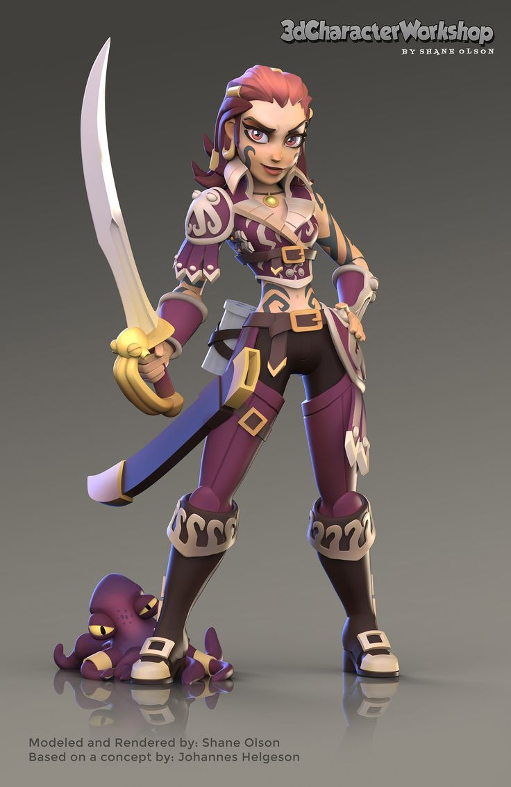 Octopus Pirate Girl from the Pixologic Twitch Stream