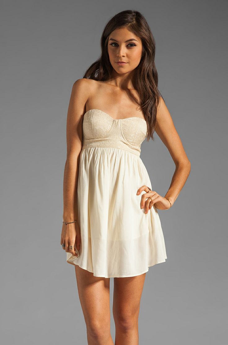One Teaspoon Nickels and Dimes Sequin Bustier Mini Dress in Cream from REVOLVEclothing