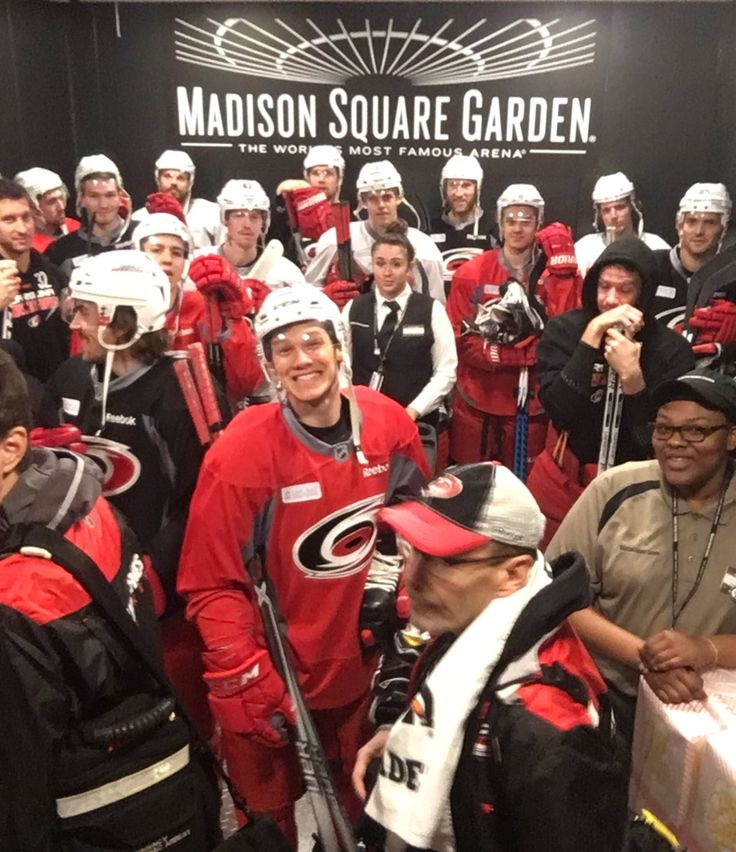 The elevator was packed with the Canes as they head to the ice for practice!