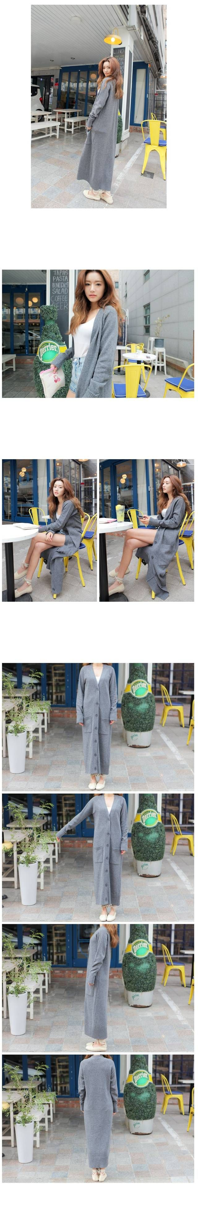 Корея длинной шерсти вязаный кардиган свитер досуг женский тенденции мода светло серый большой размер пальтокупить в магазине Fashion…