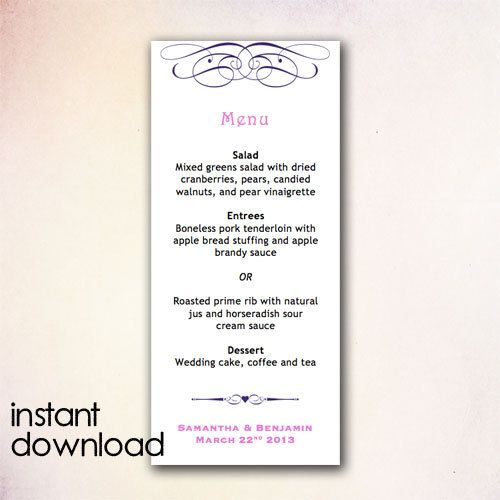 15 best DIY Wedding Menu Templates - Instant Download images on - ms word menu template