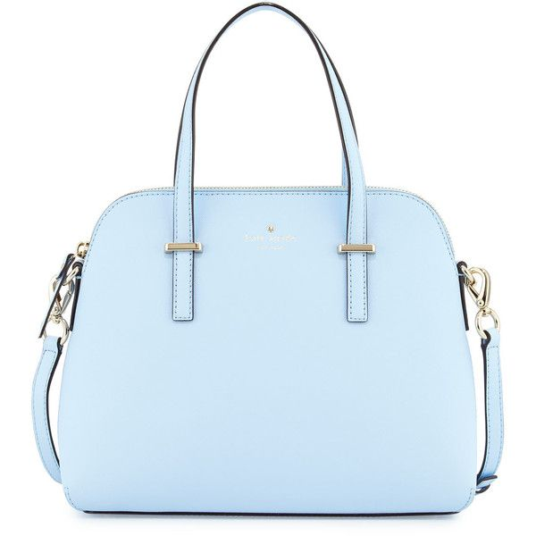 kate spade new york cedar street maise satchel bag found on Polyvore featuring bags, handbags, sky blue, genuine leather handbags, leather handbags, leather satchel purse, leather satchel handbags and blue satchel handbags
