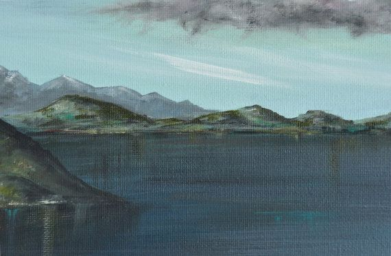 A painting to stop traffic in your home.  Horizontal wall art, original landscape painting, dark landscape, seascape painting, reflections, horizons