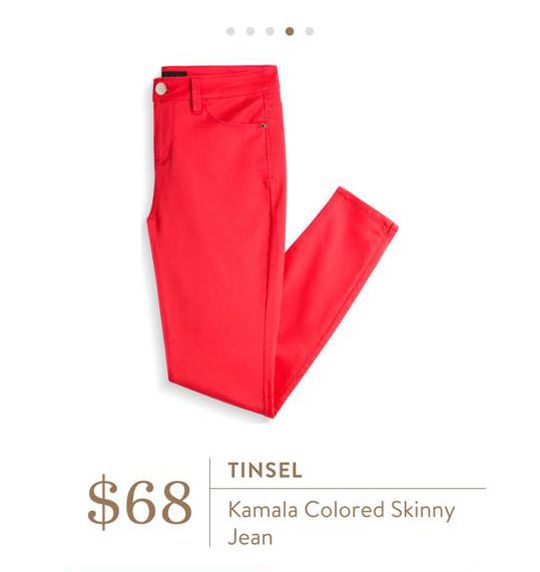 Stitch Fix: Tinsel Kamala Colored Skinny Jean - still slightly obsessed with pink / coral / peach / raspberry colored skinny jeans. :)