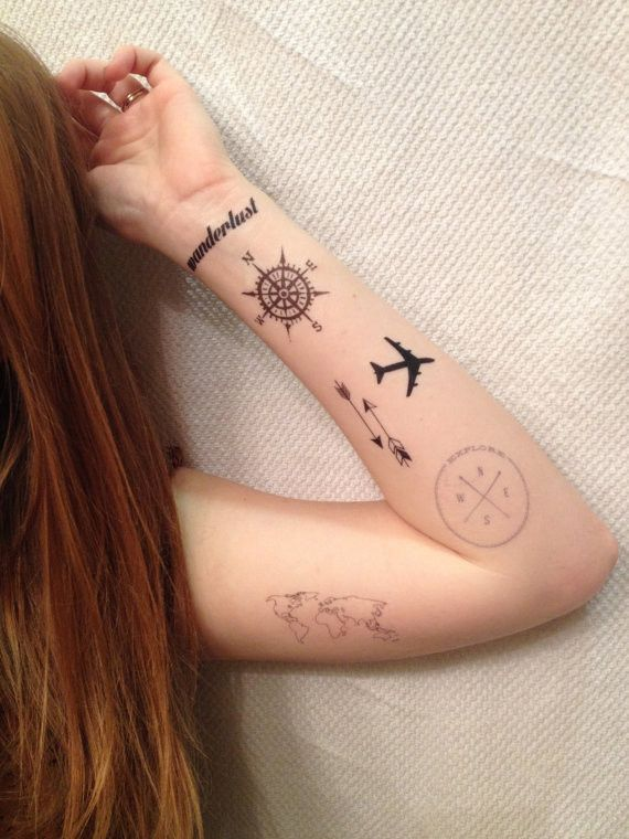 Got Wanderlust? Express it with these temporary tattoos. Adventure awaits. Sizes Vary Set of 6 Tattoos in Each Package