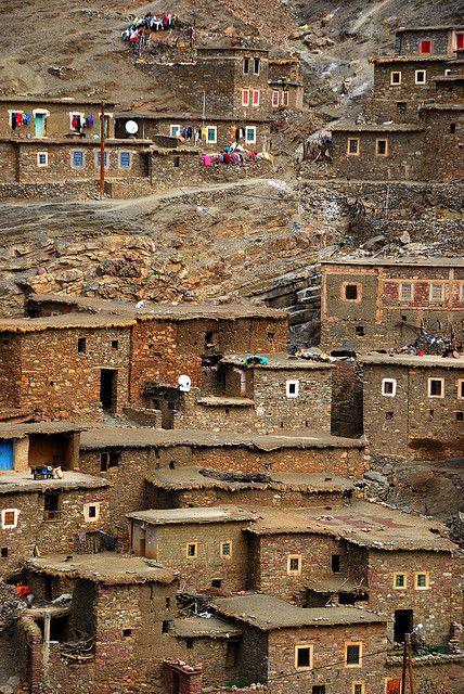 Village on a hill, High Atlas Mountains, Morocco