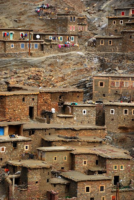 Village on a hill, High Atlas Mountains, Morocco