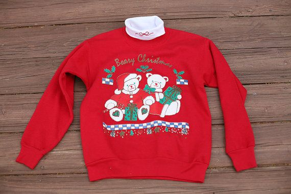 Ugly Christmas Sweater - Ugly Holiday Sweater - Vintage Red Beary Christmas Sweatshirt with Attached Turtleneck - SMALL PETITE