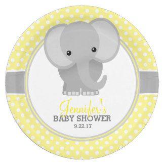 Yellow Elephant Baby Shower Plates | Zazzle.com.au