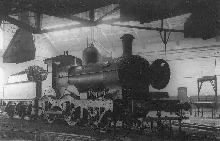 GWR 2-4-0 Barnum Class No 3210 by Dean at Swindon Works. Seen at Tyseley Shed, the last 'sandwich' outside frame built by GWR
