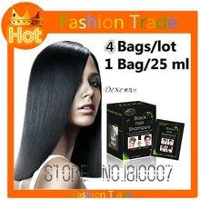25 ml x 4 zak Haar Kleur Permanente Haarverf shampoo reparatie de hoofdhuid 5 mins kruid natuurlijke sneller zwart haar Herstellen blacken shampoo(China)