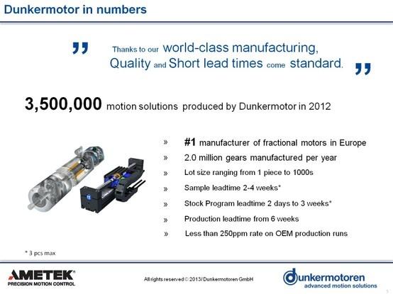 Dunkermotoren in numbers. Dunkermotor is now part of Ametek.
