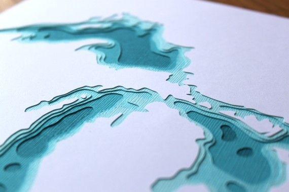 The Great Lakes in Aqua - original 8 x 10 papercut art $35