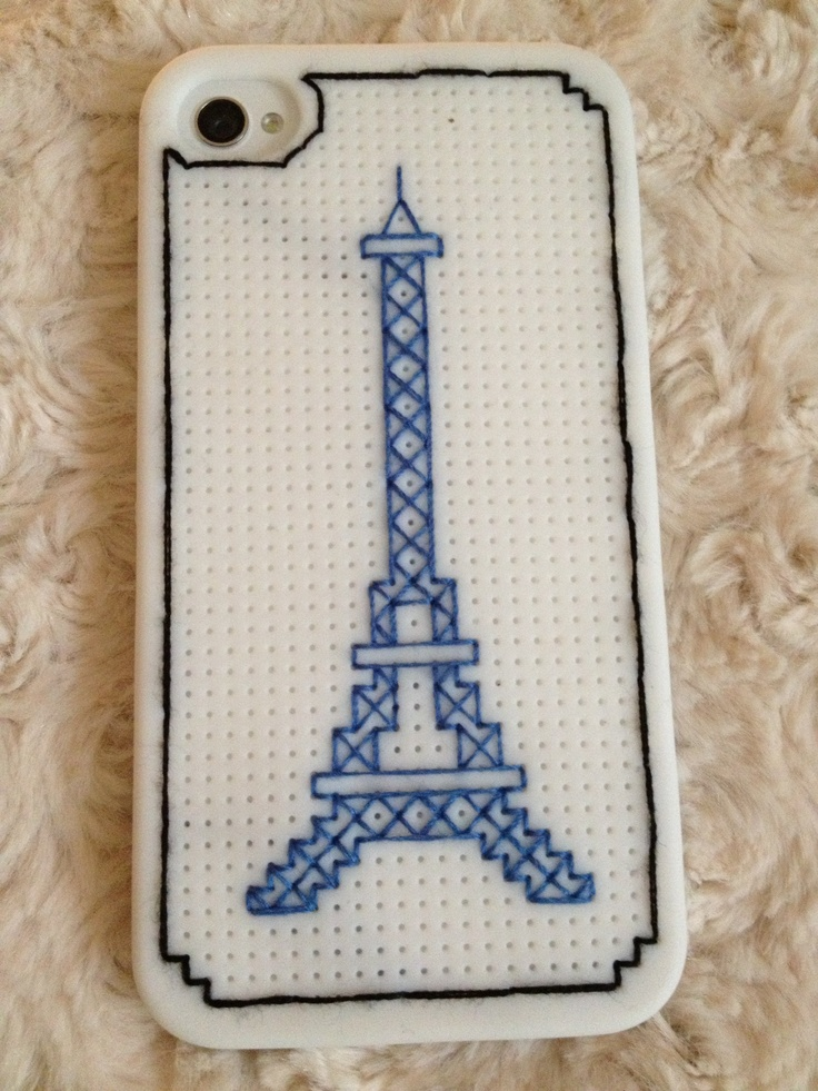 Eiffel Tower cross stitched on iPhone case.