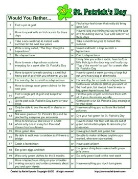 FREE St. Patrick's Day Would You Rather Questions by Rachel Lynette - Re-pinned by @PediaStaff – Please Visit http://ht.ly/63sNt for all our pediatric therapy pins