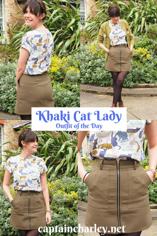 Khaki Cat Lady Outfit of the Day #OOTD – Captain Charley, London Fashion Blogger