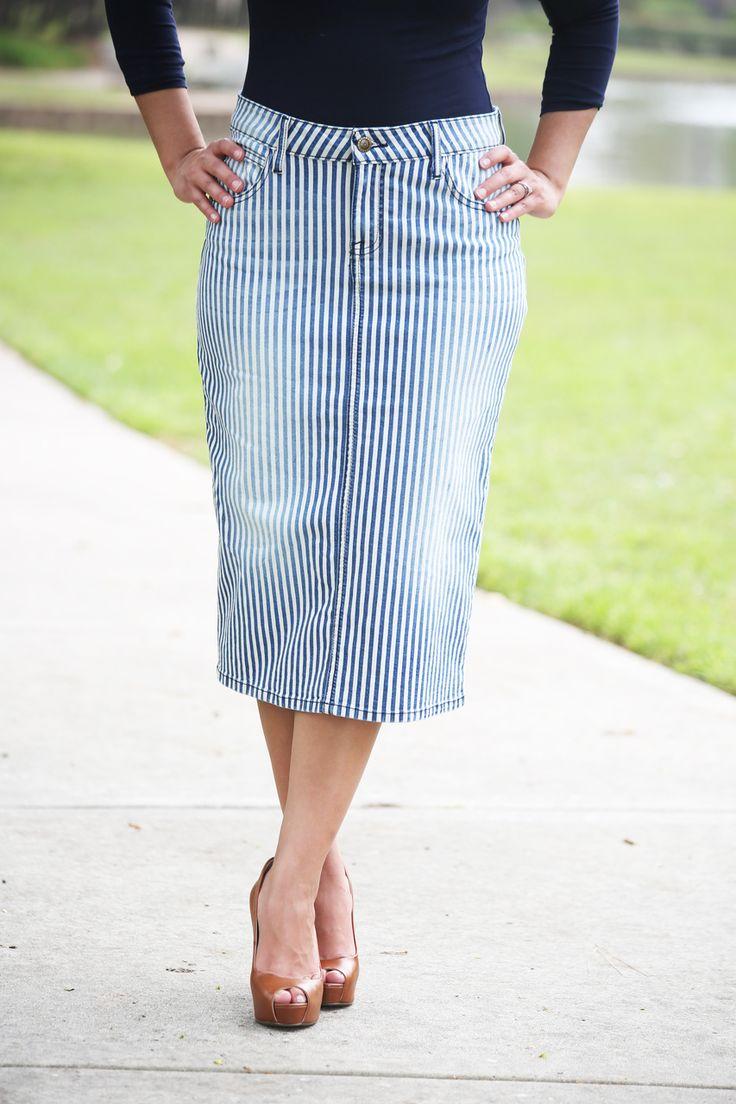 Vintage Stripe Premium Denim Skirt - Beautiful One Modest Apparel