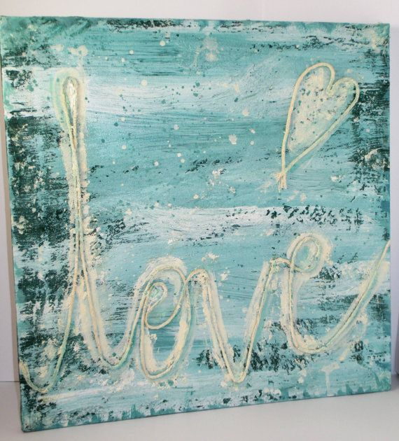 FREE shipping Love Wall Art Handpainted Picture by NIKscrapbooking READY TO SHIP