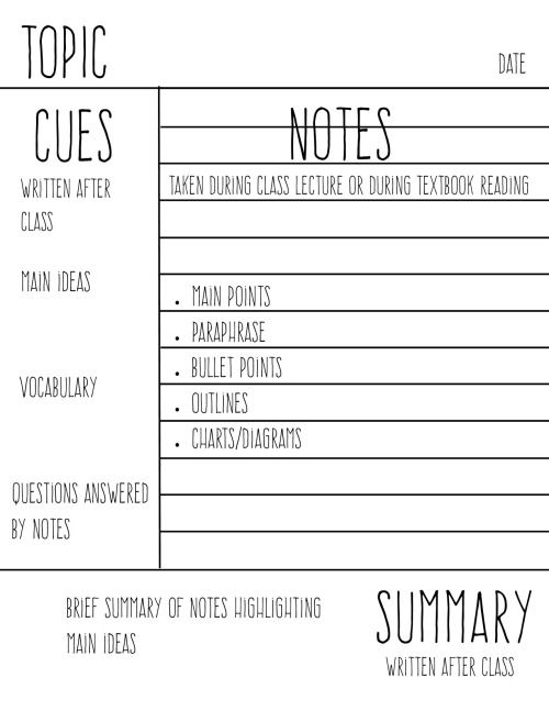 44 best Studying Tips and Motivation images on Pinterest Study - cornell note taking template